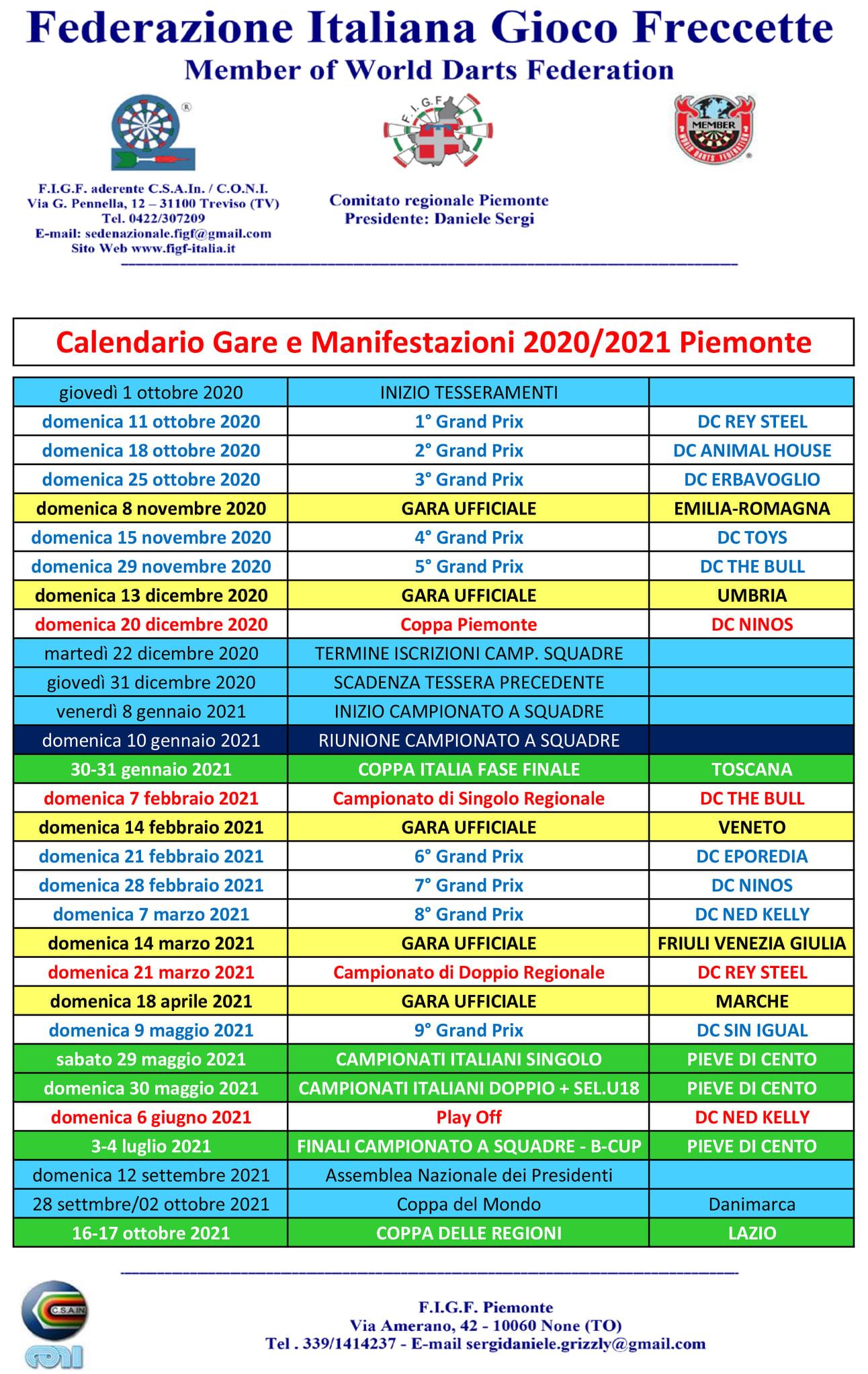 FIGF Piemonte: Calendario 2020/21 – paolopesce.com